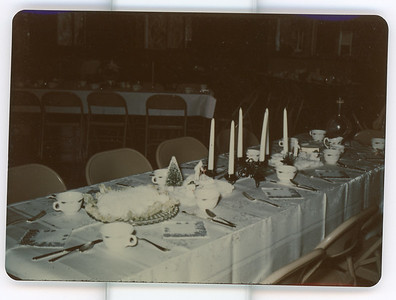 My best guess is Ethel Carmichael took these pictures from a friends wedding reception.  Jane Houlton thinks most likely Ethel made the center piece decorations.  We all remember her awesome sugar eggs she made.  Probably not of interest, but I scanned them just in case someone knew what the event was.  BH