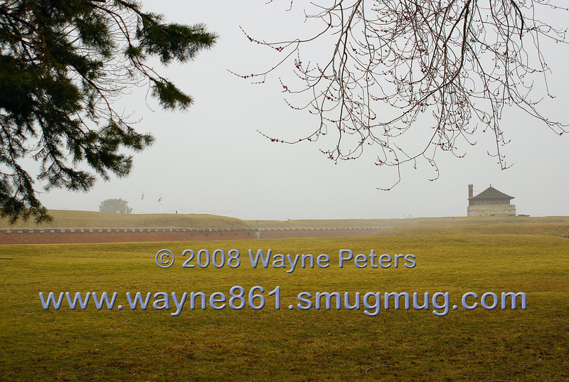 Fort Niagara, the curtain wall and north redoubt seen from the earthworks.