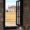 Fort Niagara, the French Castle seen through a window  of the Historical Institute.