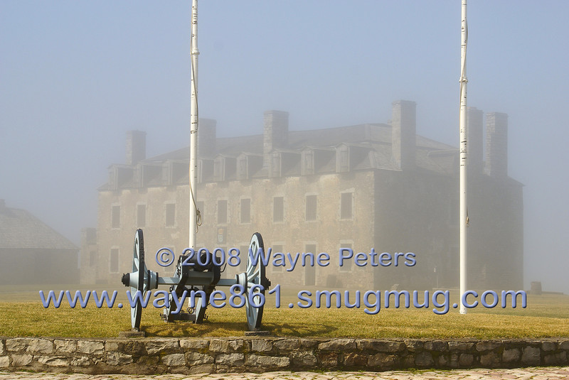 Fort Niagara, the french castle on a foggy morning.