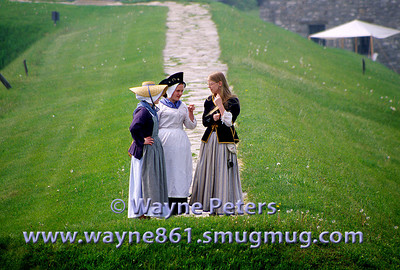 """Young ladies having a morning stroll. The 2006 """"Soldiers Through the Ages"""" event at Old Fort Niagara."""