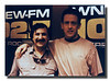 Tony Alise with recording star Luka Bloom at WNEW radio station in New York City, 1992.