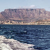 Panorama of Cape Town, Table Mountain and Signal Hill, taken from the boat to Robben Island, South Africa