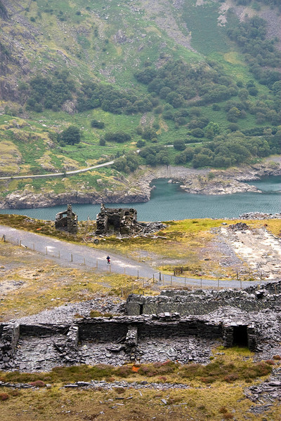 Looking down on the Dyffryn levelm with Llyn Peris and the ruined drum-house at the head of the C3 incline.