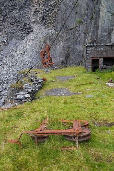 remains of blondin system and the carriages which ran along these areial ropeways.