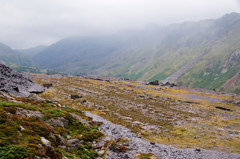 Climbing the C4 and C5 inclines:   this is the Bonc Isaf Braich level (at the bottom of C4) and shows the flattened site of the slate dressing sheds.