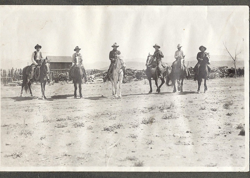 LC Ranch 1910; L-R unknown -Oliver Dungan - Max Allison - unknown - Bill Lewis - unknown