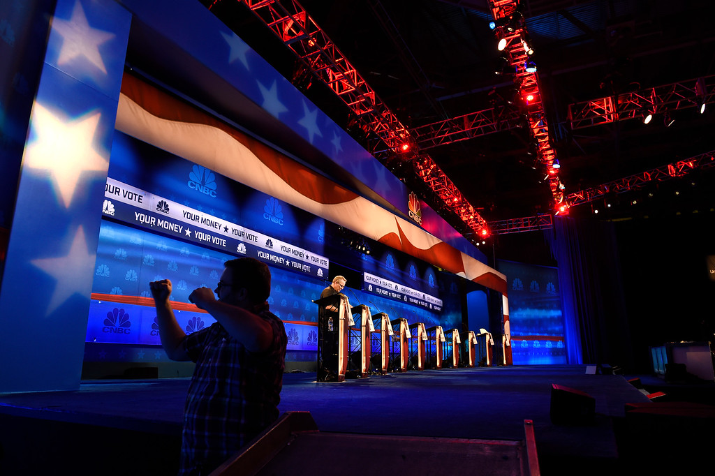 . BOULDER, CO - OCTOBER 27: Crew members help set up the debate stage in preparation for the CNBC Republican Presidential Debate at Coors Events Center on the University of Colorado campus in Boulder, Colorado on October 27, 2015.  There will be two debates between 14 different candidates.  The first debate will include Lindsey Graham Bobby Jindal, George Pataki, and Rick Santorum.  The second debate will include Jeb Bush, Ben Carson, Chris Christie, Ted Cruz, Carly Florin, Mike Huckabee, John Kasich, Rand Paul, Marco Rubio and Donald Trump. (Photo by Helen H. Richardson/The Denver Post)