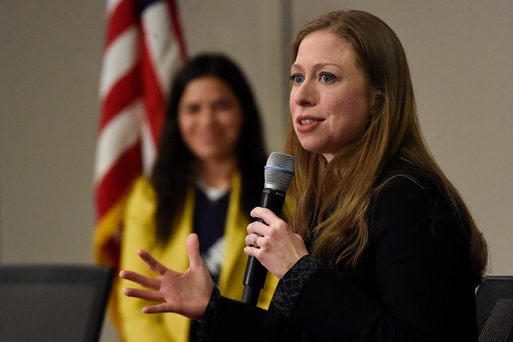 . DENVER, CO - FEBRUARY 18: Chelsea Clinton speaks to a room full of supporters at DU. Chelsea Clinton and actress America Ferrera are campaigning for Hillary Clinton in Denver February 18, 2016 at the Anderson Academic Commons. Chelsea and America spoke to about 100 supporters.  (Photo By John Leyba/The Denver Post)