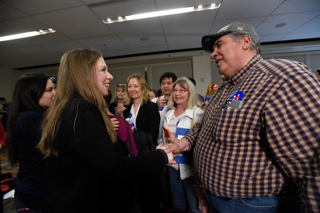 . DENVER, CO - FEBRUARY 18: Bob Hill of Ft. Collins shakes hands with Chelsea Clinton after speaking to about 100 supporters and students along with actress America Ferrera during a campaign stop for Hillary Clinton in Denver February 18, 2016 at the Anderson Academic Commons. (Photo By John Leyba/The Denver Post)