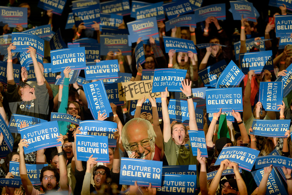 . FORT COLLINS, CO - FEBRUARY 28: Supporters cheer before Bernie Sanders speaks during a rally at Colorado State University\'s Moby Arena on Sunday, February 28, 2016. (Photo by AAron Ontiveroz/The Denver Post)