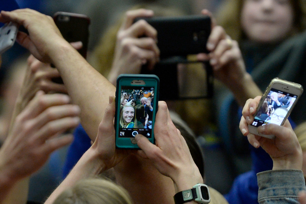. FORT COLLINS, CO - FEBRUARY 28: Bernie Sanders is selfied by dozens of supporters as he makes a final lap of handshakes during a rally at Colorado State University\'s Moby Arena on Sunday, February 28, 2016. (Photo by AAron Ontiveroz/The Denver Post)