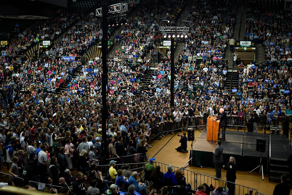 . FORT COLLINS, CO - FEBRUARY 28: Bernie Sanders speaks during a rally at Colorado State University\'s Moby Arena on Sunday, February 28, 2016. (Photo by AAron Ontiveroz/The Denver Post)