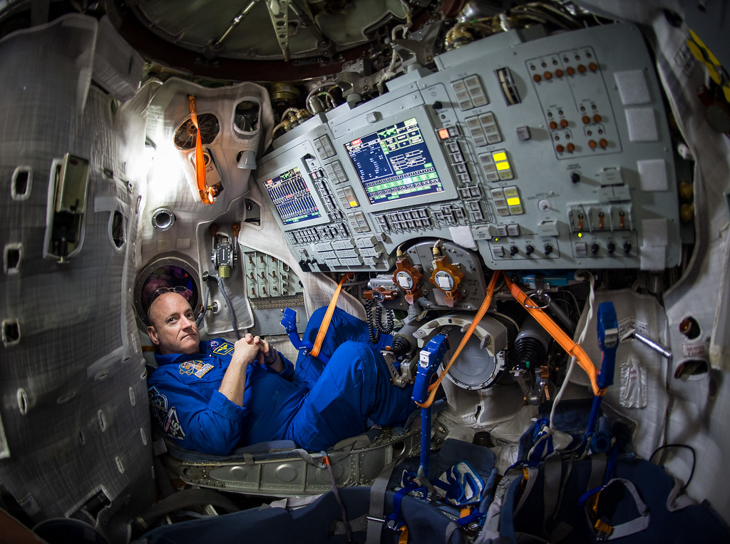 . CORRECTS DAY OF LAUNCH TO SATURDAY, MARCH 28, INSTEAD OF FRIDAY - In this photo provided by NASA, astronaut Scott Kelly sits inside a Soyuz simulator at the Gagarin Cosmonaut Training Center (GCTC), Wednesday, March 4, 2015 in Star City, Russia. On Saturday, March 28, 2015, Kelly and cosmonaut Mikhail Kornienko will travel to the International Space Station to begin a year-long mission living in orbit. (AP Photo/NASA, Bill Ingalls)