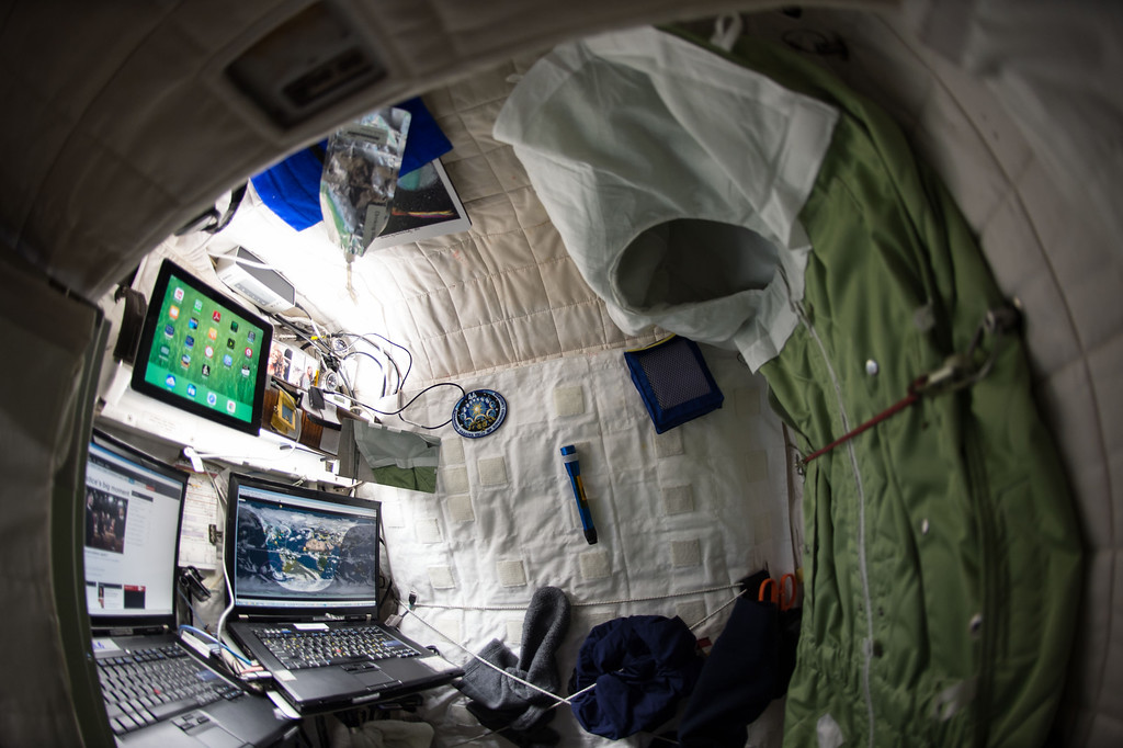 . This April 24, 2015 photo provided by NASA shows astronaut Scott Kelly\'s personal living quarters on the International Space Station. (Scott Kelly/NASA via AP)