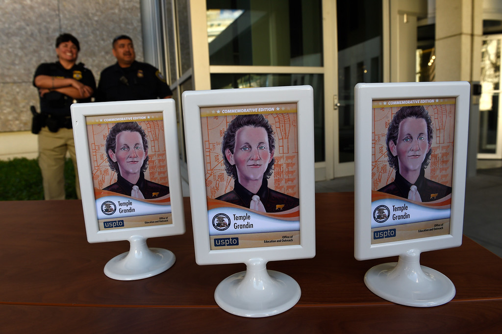 . DENVER, CO - MARCH 3: Dr. Temple Grandin\'s inventor trading cards sit on a table outside of the US Patent and Trademark Office on April 3, 2016 in Denver, Colorado. Grandin, who is a professor of animal science at Colorado State University, is the first woman to be honored by the USPTO on it\'s kid friendly inventor trading cards.  Grandin, who is autistic, is well known for her innovative equipment designs that have greatly improved conditions for animals in the livestock industry. (Photo by Helen H. Richardson/The Denver Post)