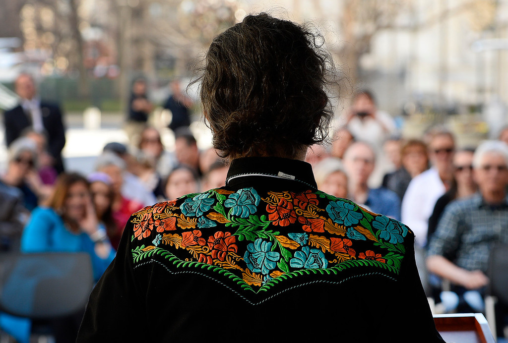 . DENVER, CO - MARCH 3: Dr. Temple Grandin, with her trademark shirt, speaks  outside of the US Patent and Trademark Office on April 3, 2016 in Denver, Colorado. Grandin, who is a professor of animal science at Colorado State University, is the first woman to be honored by the USPTO on it\'s kid friendly inventor trading cards.  Grandin, who is autistic, is well known for her innovative equipment designs that have greatly improved conditions for animals in the livestock industry. (Photo by Helen H. Richardson/The Denver Post)