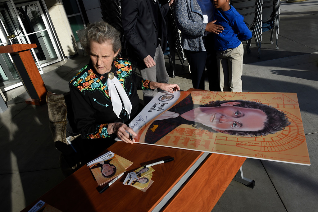 . DENVER, CO - MARCH 3: Dr. Temple Grandin autographs a poster size image of her inventor\'s trading card outside of the US Patent and Trademark Office on April 3, 2016 in Denver, Colorado. Grandin, who is a professor of animal science at Colorado State University, is the first woman to be honored by the USPTO on it\'s kid friendly inventor trading cards.  Grandin, who is autistic, is well known for her innovative equipment designs that have greatly improved conditions for animals in the livestock industry. (Photo by Helen H. Richardson/The Denver Post)