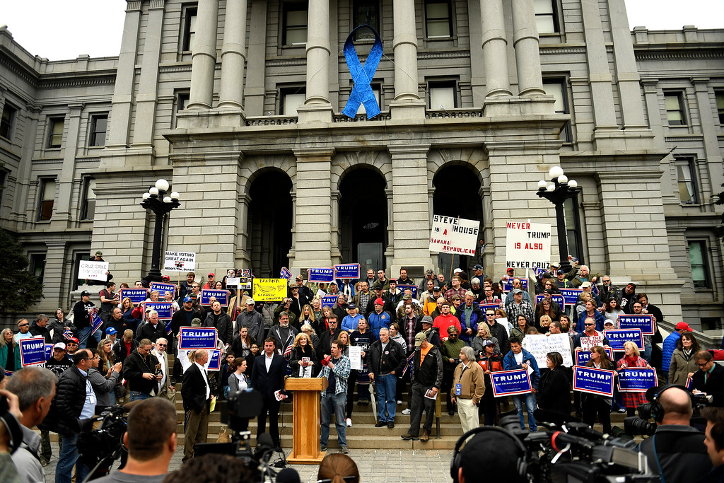 . Denver, CO - ARRIL 15: Matt Behrens of Arvada speaks as Colorado Republican voters gather at the state Capitol to protest the delegate selection process when the GOP officials decided not to hold a straw poll March 1st and denied them their vote. April 15, 2016 in Denver, CO. (Photo By Joe Amon/The Denver Post)