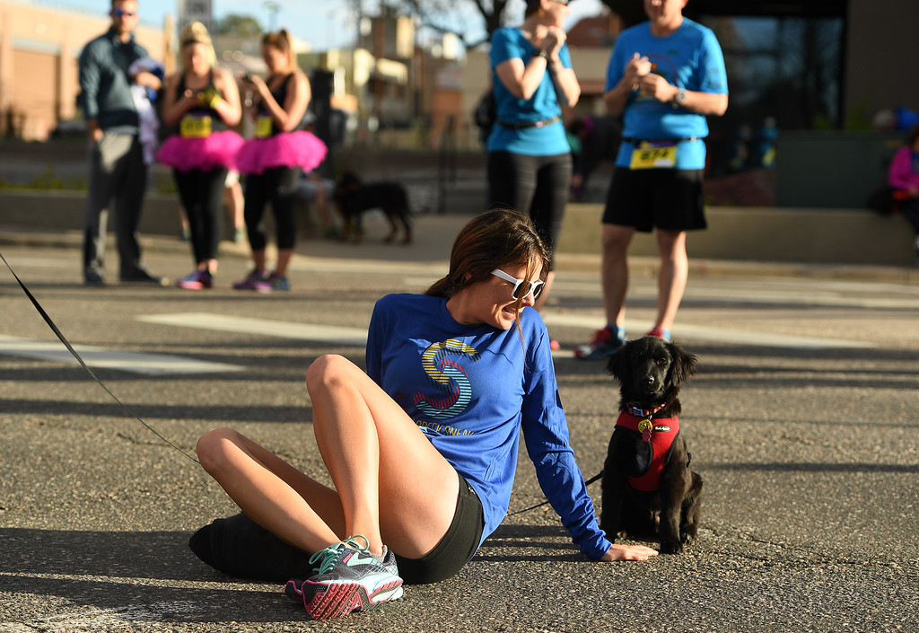 . DENVER, CO - APRIL 24:  Amy Smith sits with her new puppy Maddox, a four month old lab mix, as she stretches before taking part in the 10 mile race of the 34th annual Cherry Creek Sneak road races on April 24, 2016 in Denver, Colorado. The day\'s races included a 10 miler, a 1.5 mile Sneak Sprint, a 5K and a 5 mile run and walk.   (Photo by Helen H. Richardson/The Denver Post)