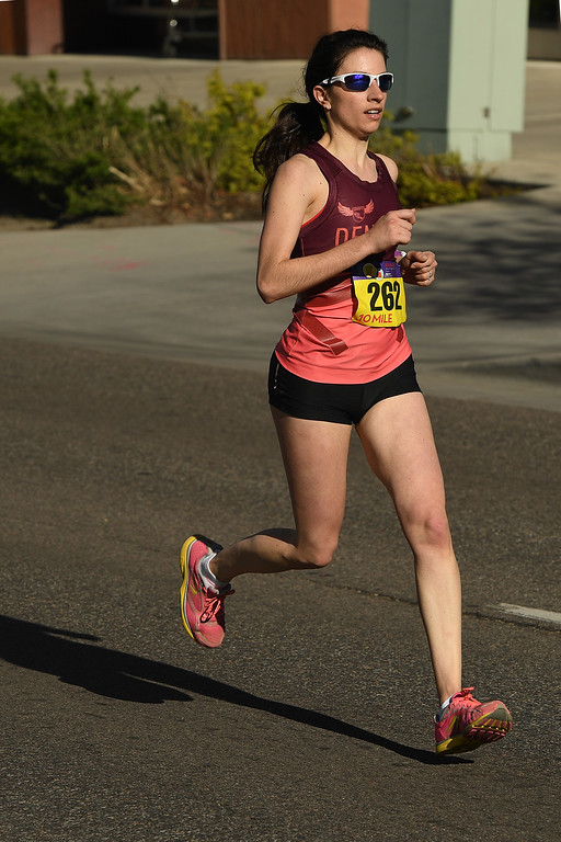. DENVER, CO - APRIL 24:  Runner Yianna Antonopoulos runs towards the finish line on her way to winning the women\'s 10 mile race during of the 34th annual Cherry Creek Sneak road races on April 24, 2016 in Denver, Colorado. The day\'s races included a 10 miler, a 1.5 mile Sneak Sprint, a 5K and a 5 mile run and walk.   (Photo by Helen H. Richardson/The Denver Post)