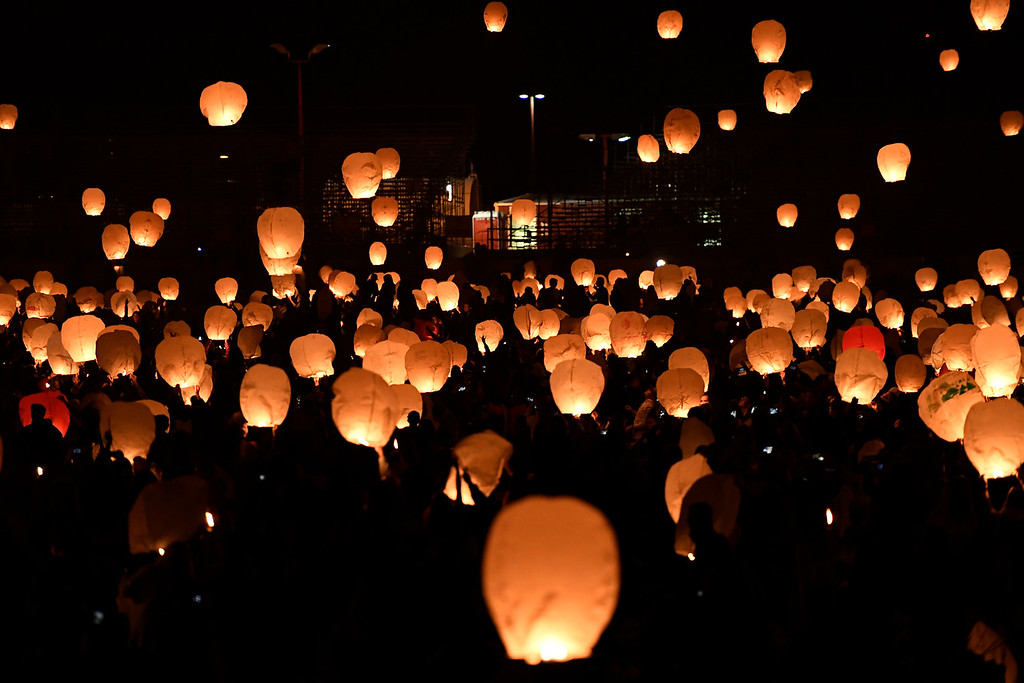 . DACONO, CO - APRIL 24: More than 5,000 biodegradable paper lanterns were sent into the sky as part of the Lantern Festival in Dacono on Sunday, April 24, 2016. (Photo by AAron Ontiveroz/The Denver Post)