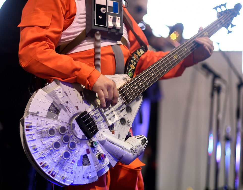 . DENVER, CO - MAY 01: Rocky Ramjett plays the rebel bass as he performs with the Fabulous Boogienauts during a Star Wars themed day at Wings Over the Rockies on Sunday, May 1, 2016. (Photo by AAron Ontiveroz/The Denver Post)
