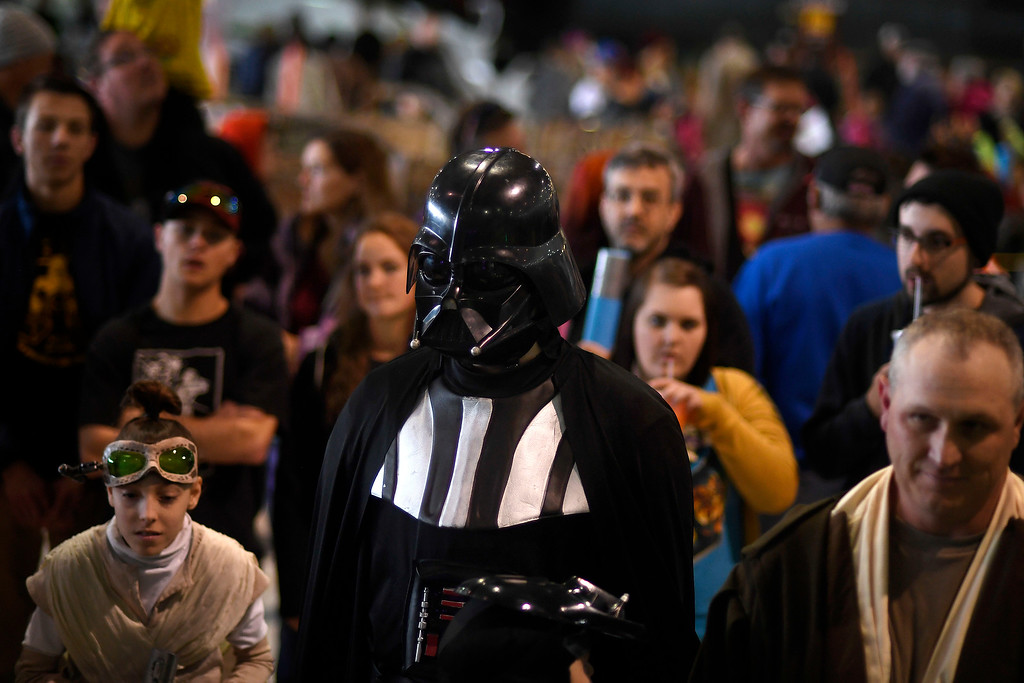 . DENVER, CO - MAY 01: Darth Vader stands with the general public during a Star Wars themed day at Wings Over the Rockies on Sunday, May 1, 2016. (Photo by AAron Ontiveroz/The Denver Post)