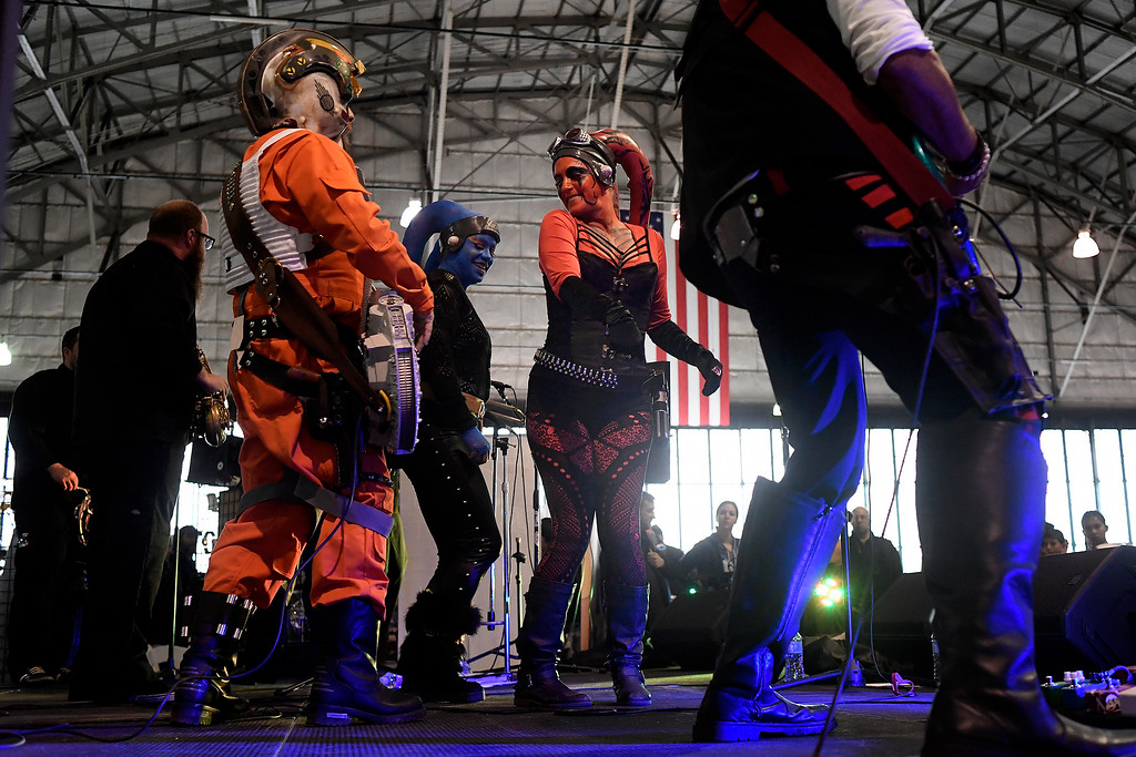 . DENVER, CO - MAY 01: Jenn Sing belts a note as she performs with the Fabulous Boogienauts during a Star Wars themed day at Wings Over the Rockies on Sunday, May 1, 2016. (Photo by AAron Ontiveroz/The Denver Post)