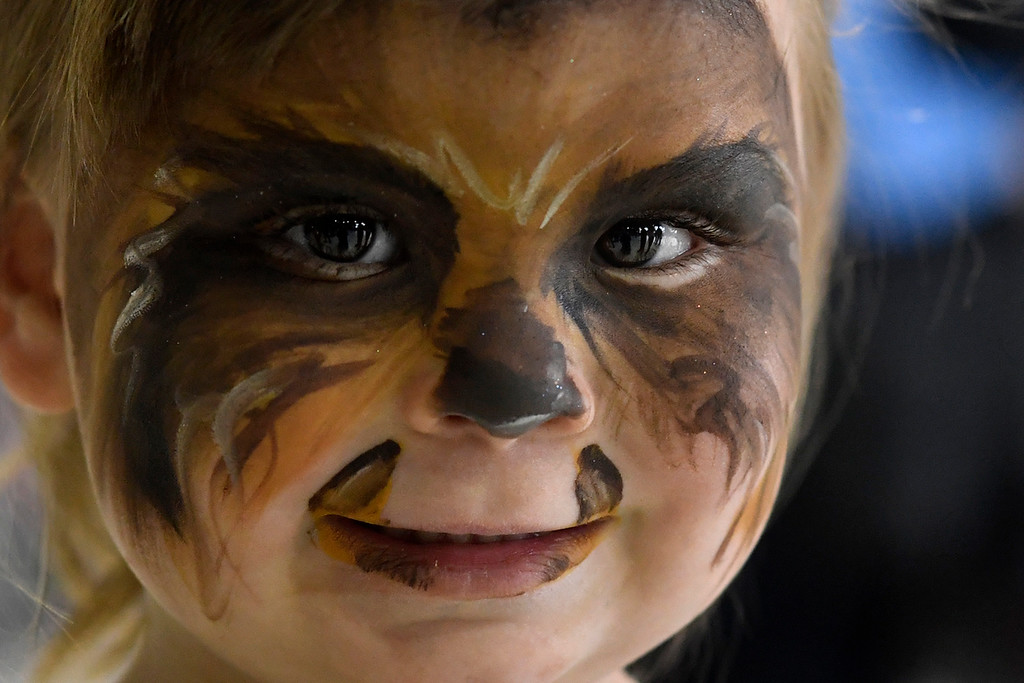 . DENVER, CO - MAY 01: Zoe Schnepf, 3, shows her Chewbacca face paint during a Star Wars themed day at Wings Over the Rockies on Sunday, May 1, 2016. (Photo by AAron Ontiveroz/The Denver Post)
