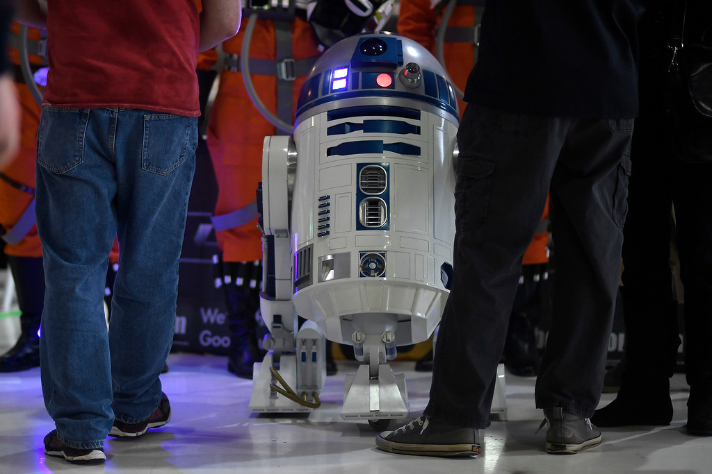 . DENVER, CO - MAY 01: R2-D2 works the scene during a Star Wars themed day at Wings Over the Rockies on Sunday, May 1, 2016. (Photo by AAron Ontiveroz/The Denver Post)