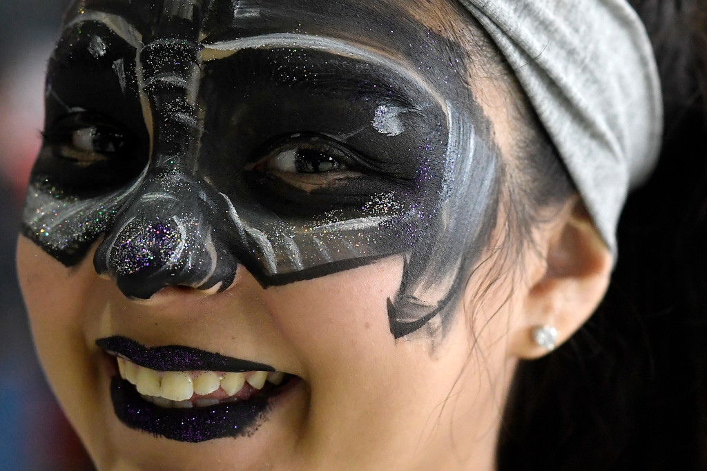 . DENVER, CO - MAY 01: Taylor Ferber displays her Darth Vader face paint during a Star Wars themed day at Wings Over the Rockies on Sunday, May 1, 2016. (Photo by AAron Ontiveroz/The Denver Post)