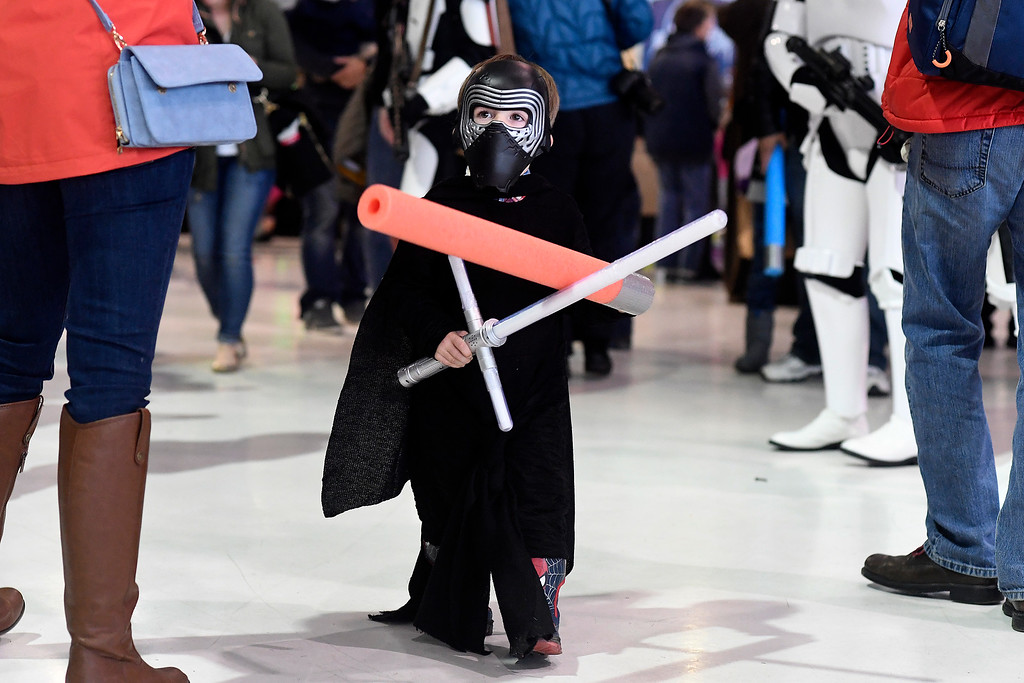 . DENVER, CO - MAY 01: Levi Rosser, dressed as Kilo Ren, cruises the scene during a Star Wars themed day at Wings Over the Rockies on Sunday, May 1, 2016. (Photo by AAron Ontiveroz/The Denver Post)