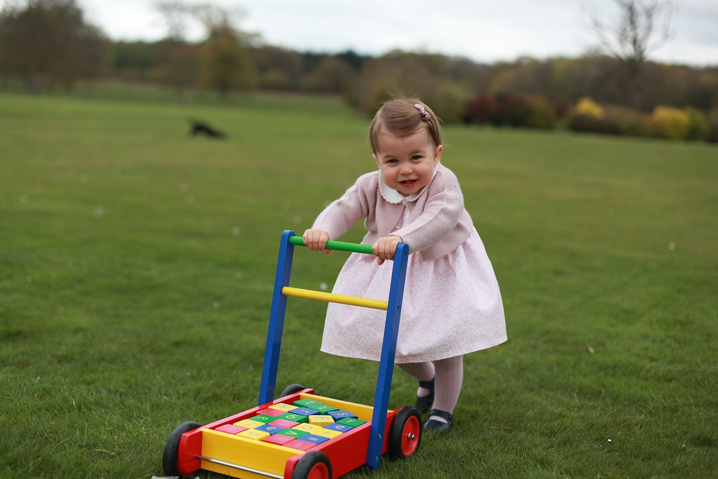. Four new photographs of Britain\'s Princess Charlotte playing at her family\'s country home were released by the royal family on May 1, 2016 to mark her first birthday which falls on May 2. The photographs were taken by her mother, Catherine, Duchess of Cambridge, in April 2016 at Anmer Hall, the secluded house in Norfolk, eastern England, where the family spends much of its time. (AFP PHOTO / KENSINGTON PALACE / THE DUCHESS OF CAMBRIDGE)