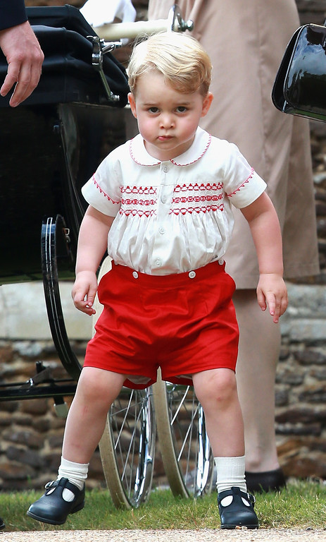 . Prince George of Cambridge leaves the Church of St Mary Magdalene on the Sandringham Estate for the Christening of Princess Charlotte of Cambridge on July 5, 2015 in King\'s Lynn, England.  (Photo by Chris Jackson/Getty Images)