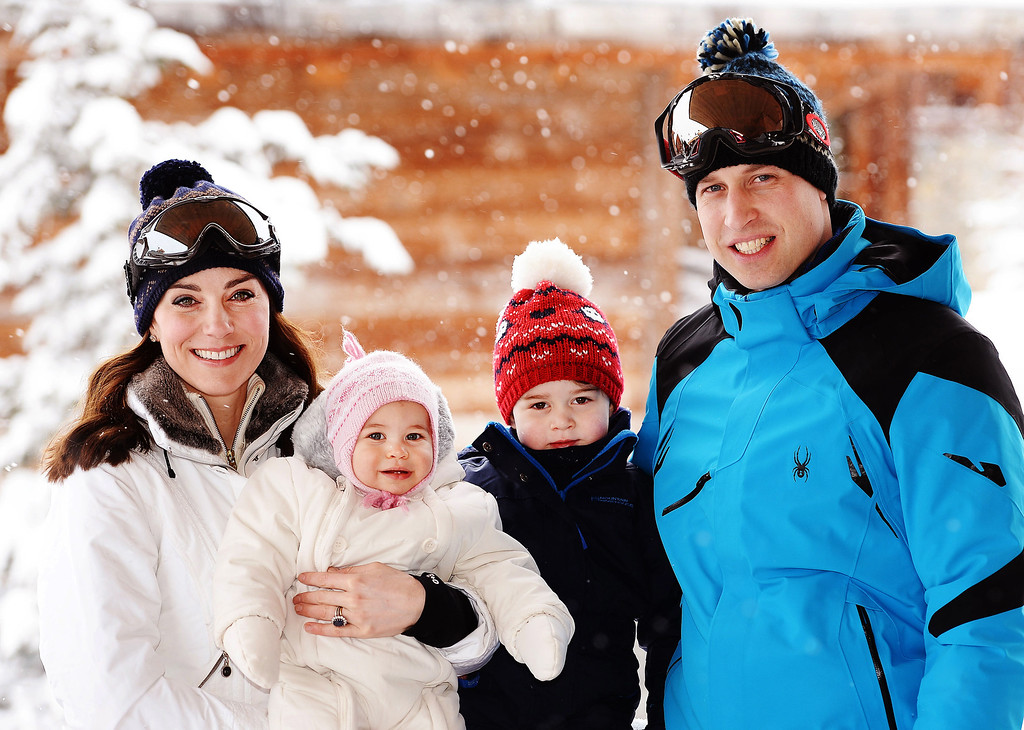 . Catherine, Duchess of Cambridge and Prince William, Duke of Cambridge, with their children, Princess Charlotte and Prince George, enjoy a short private skiing break on March 3, 2016 in the French Alps, France. (Photo by John Stillwell - WPA Pool/Getty Images)