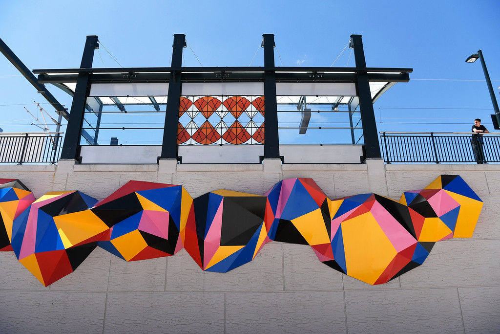 . DENVER, CO - May 03: A sculpture from artist Molly Dilworth entitled �Time Present� graces a wall at the RTD\'s University of Colorado A Line 40th and Airport station May 03, 2016. The public art piece is part of the RTD\'s ART-N-TRANSIT program at five of the train stations. (Photo by Andy Cross/The Denver Post)