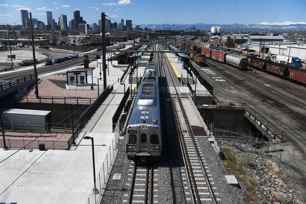 . DENVER, CO - May 03: The RTD University of Colorado A Line station at 38th and Blake May 03, 2016. (Photo by Andy Cross/The Denver Post)