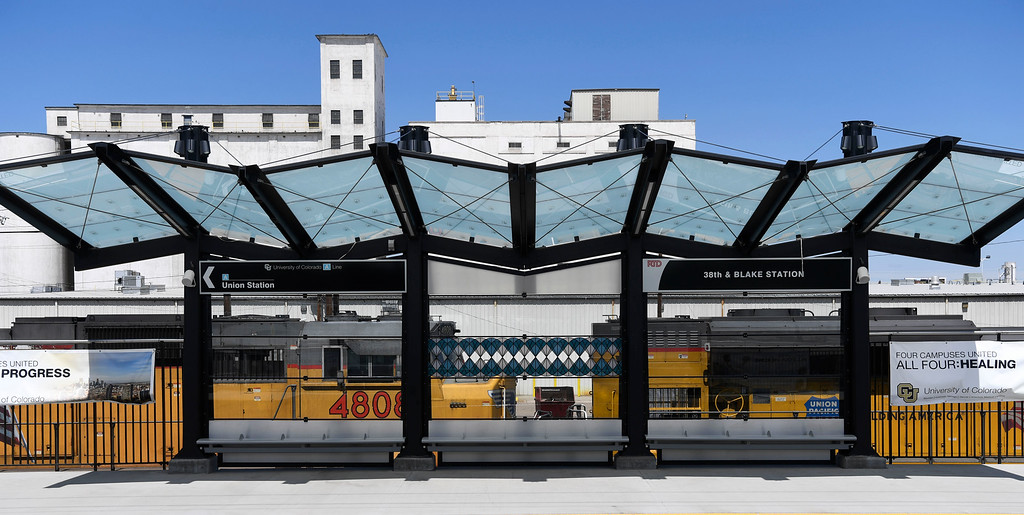 . DENVER, CO - May 03: RTD University of Colorado A Line station train platform at 38th and Blake May 03, 2016. (Photo by Andy Cross/The Denver Post)