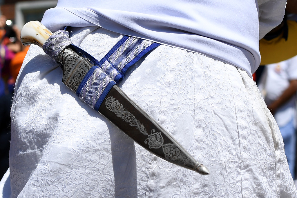 . DENVER, CO - MAY 22: Guru Raja Khalsa wears a traditional kirpan on his belt before a Sikh parade on Sunday, May 22, 2016. This was Denver\'s first ever Sikh parade. The event was held to celebrate the culture of the growing Sikh population in the area. (Photo by AAron Ontiveroz/The Denver Post)