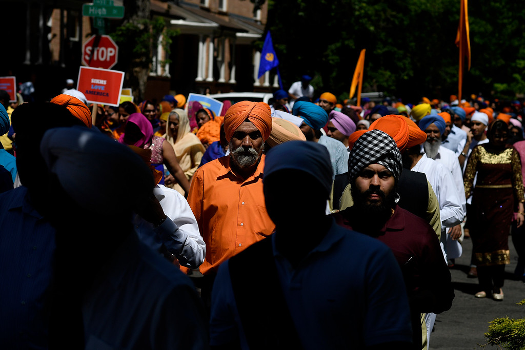 . DENVER, CO - MAY 22: A group of more than 1,000 Sikhs parade near 16th and High Street on Sunday, May 22, 2016. This was Denver\'s first ever Sikh parade. The event was held to celebrate the culture of the growing Sikh population in the area. (Photo by AAron Ontiveroz/The Denver Post)