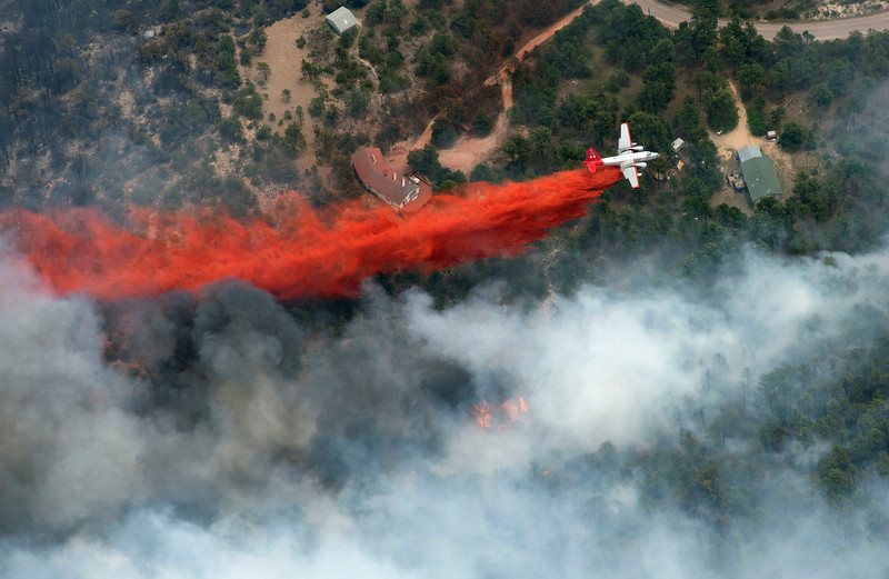 Aerial photos of the Black Forest fire, 1p.m., Thursday, June 13, 2013. (Photo by John Wark, Special to The Denver Post)