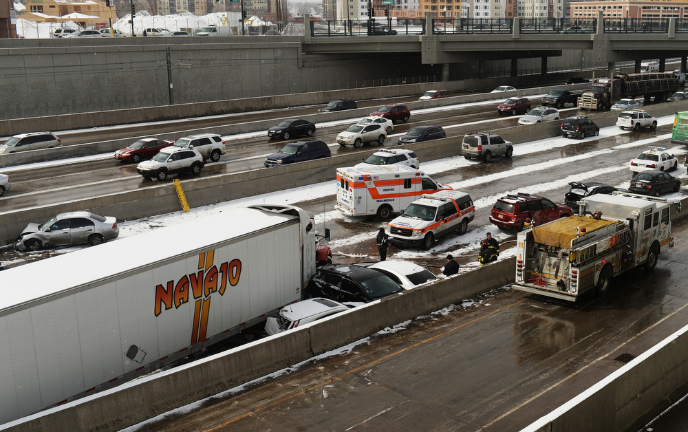 . DENVER MARCH 1: Car accident site near North bound of I-25 Logan Exit.  Denver, Colorado. March 1. 2014. (Photo by Hyoung Chang/The Denver Post)
