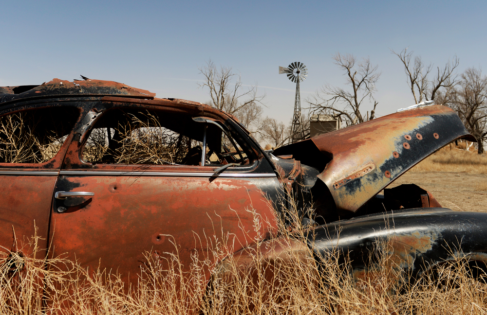. SPRINGFIELD, CO - APRIL 01: Tumbleweeds pile up  in an old abandoned car in Haswell, Tuesday, April 01, 2014. Massive dust Storms that bedeviled the region last year are back this spring, stirring memories of the Dust Bowl in the 1930s. (Photo by RJ Sangosti/The Denver Post)