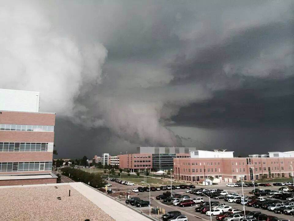 . A funnel cloud seen from University of Colorado Hospital Anschutz Campus in Aurora during the early afternoon on May 21, 2014. (Photo courtesy of � Nikki Snortum�)