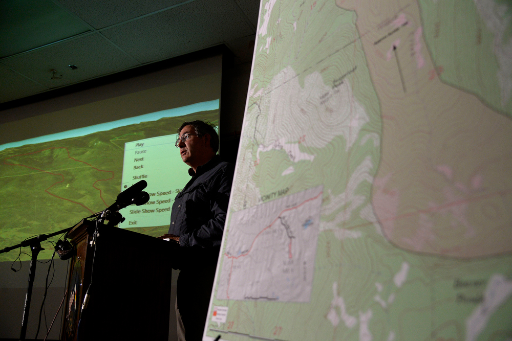 . Senior engineering geologist Jonathan White of the Colorado geological survey speaks during a press conference at the Mesa County Sheriff\'s office. It was announced that the search on foot for the three missing men in the Mesa County mudslide will be halted on Tuesday, May 27, 2014. (Photo by AAron Ontiveroz/The Denver Post)