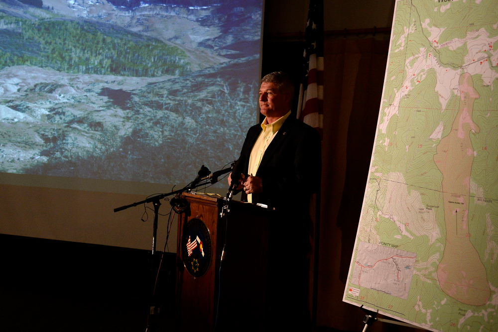 . MESA CMesa County Sheriff Stan Hilkey speaks during a press conference at the Mesa County Sheriff\'s office. It was announced that the search on foot for the three missing men in the Mesa County mudslide will be halted on Tuesday, May 27, 2014. (Photo by AAron Ontiveroz/The Denver Post)