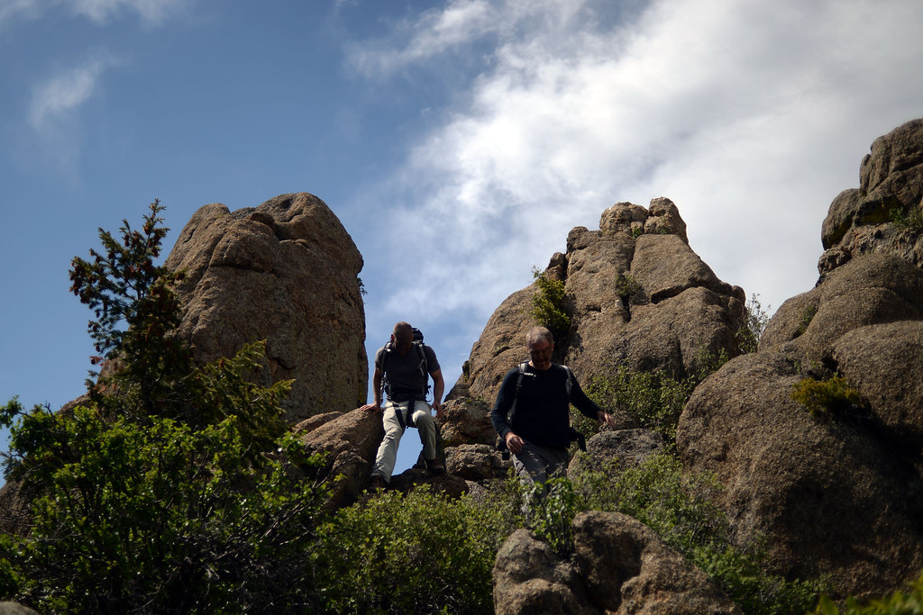 . WARD, CO - JUNE 10: Students descend from a pile of boulders. Bear Grylls survival school at Glacier View Ranch near Ward, Colorado on Tuesday, June 10, 2014. (Photo by AAron Ontiveroz/The Denver Post)
