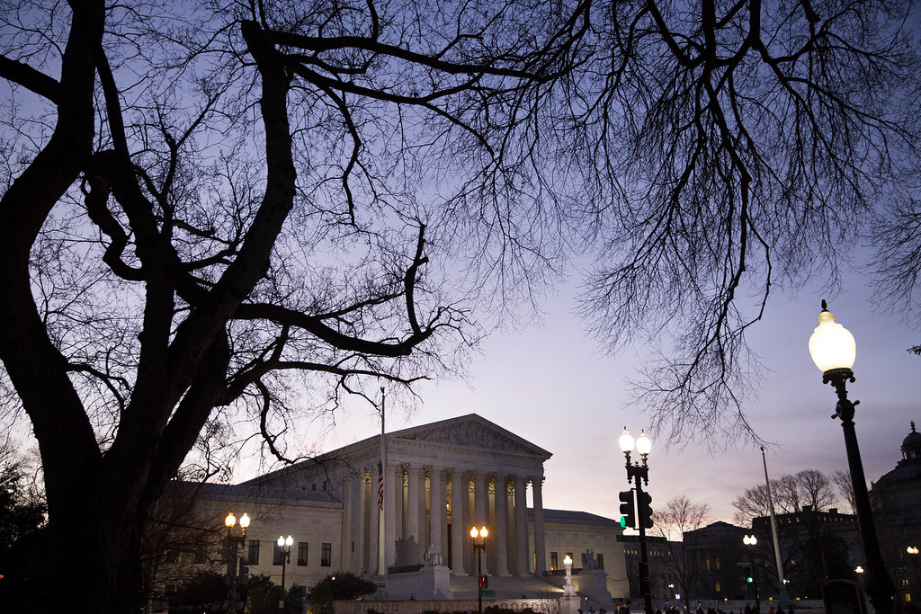 . A general view of the U.S. Supreme Court where a private memorial service will be held for Justice Antonin Scalia at the court building on February 19, 2016 in Washington, DC. Justice Scalia will then lie in repose in the Great Hall of the high court where visitors will pay their respects. (Drew Angerer/Getty Images)