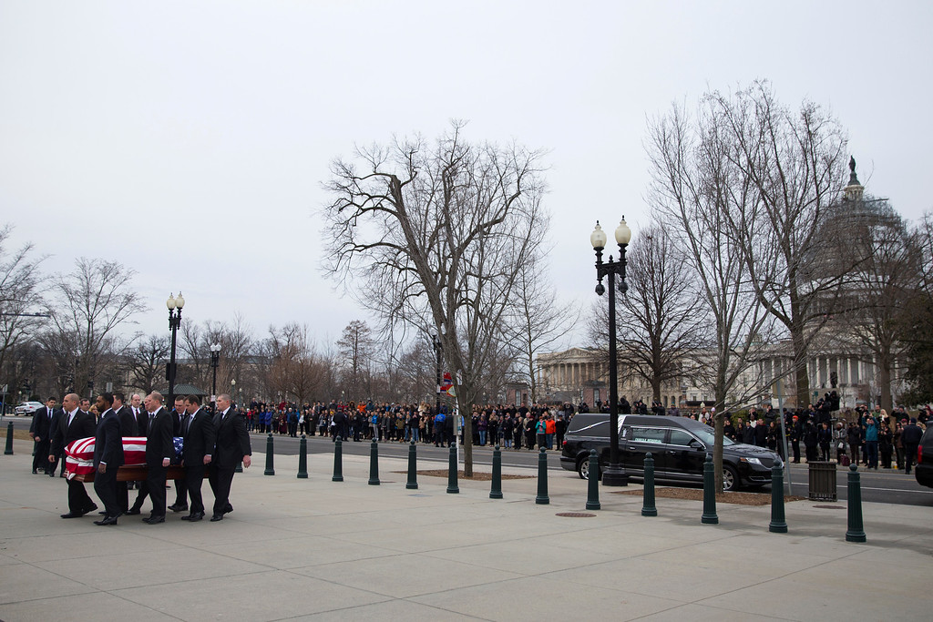 . The body of Supreme Court Justice Antonin Scalia arrives at the Supreme Court in Washington, Friday, Feb. 19, 2016.  Thousands of mourners will pay their respects Friday for Justice Antonin Scalia as his casket rests in the Great Hall of the Supreme Court, where he spent nearly three decades as one of its most influential members.  (AP Photo/Evan Vucci)
